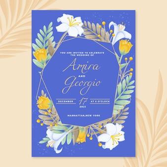 Organiczne płaskie zaproszenie na ślub kwiatowy
