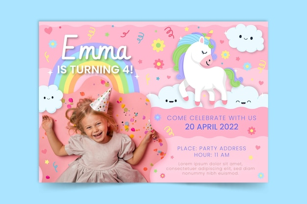Organiczne płaskie zaproszenie na urodziny jednorożca ze zdjęciem