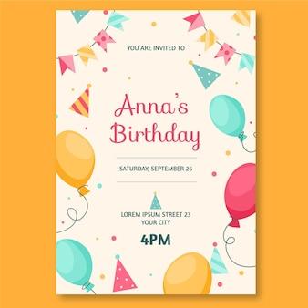 Organiczne płaskie zaproszenie urodzinowe