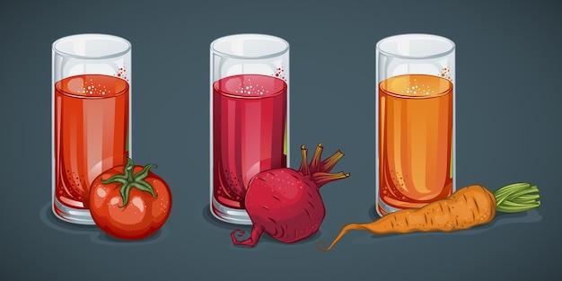 Organiczne soki ze świeżych warzyw zestaw z szklankami napojów pomidorowych z buraków marchewkowych na białym tle