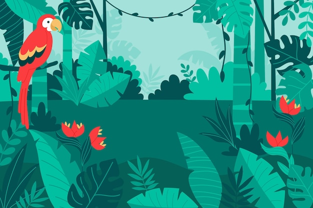 Organiczne tło płaskie dżungli z papugą