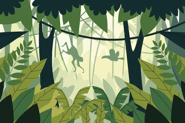 Organiczne tło płaskie dżungli z sylwetką małpy