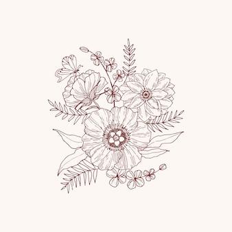 Organiczne wyciągnąć rękę kwiatowy wektor karty projekt kwiat ogrodowy lawenda róża biały zawilec eukaliptus tymianek pozostawia elegancką zieleń, jagody, druk bukiet leśny.