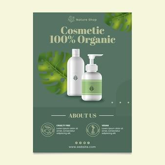 Organiczny kosmetyczny pionowy szablon ulotki