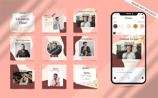 Organiczny kształt abstrakcyjny styl dla zestawu postów w mediach społecznościowych. promocja banerów sprzedaży mody na instagramie