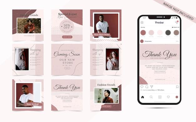 Organiczny kształt z abstrakcyjnym zestawem banerów postów w mediach społecznościowych na instagram kwadratową sprzedaż mody lub promocję blogerów kosmetycznych