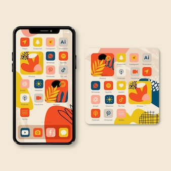 Organiczny motyw ekranu głównego dla smartfona