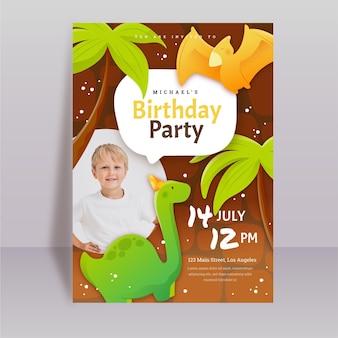 Organiczny płaski dinozaur urodziny zaproszenie szablon ze zdjęciem