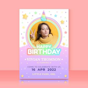 Organiczny płaski jednorożec szablon zaproszenia urodzinowego