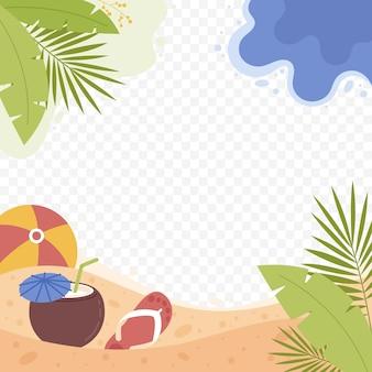 Organiczny płaski letni szablon ramki mediów społecznościowych
