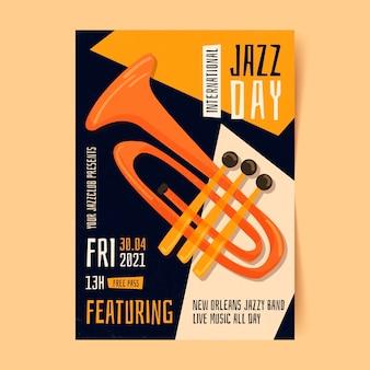 Organiczny płaski międzynarodowy dzień jazzu pionowy szablon plakatu