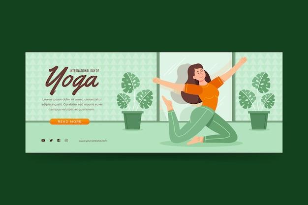 Organiczny płaski międzynarodowy dzień jogi szablon transparent