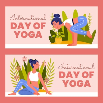 Organiczny płaski międzynarodowy dzień jogi zestaw banerów