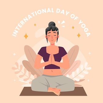 Organiczny płaski międzynarodowy dzień jogi