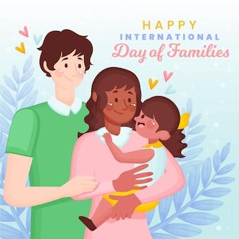 Organiczny płaski międzynarodowy dzień rodzin ilustracji