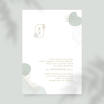Organiczny płaski minimalistyczny szablon zaproszenia ślubne