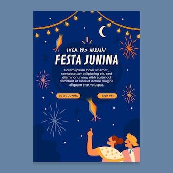 Organiczny płaski pionowy szablon plakatu festa junina