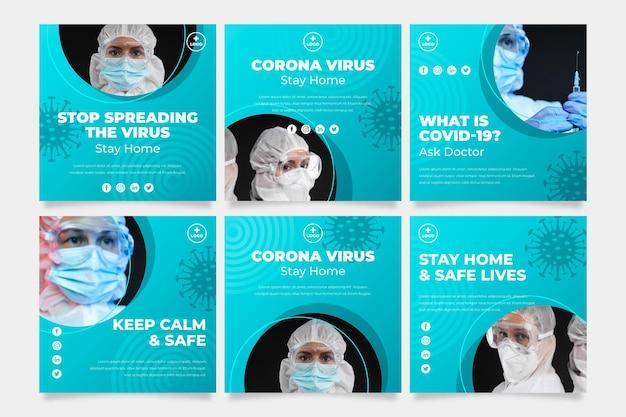 Organiczny płaski post na instagramie z koronawirusem