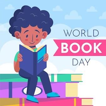 Organiczny płaski światowy dzień książki z czytaniem człowieka