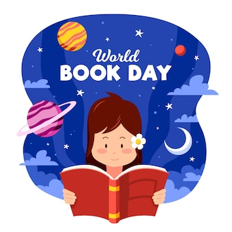 Organiczny płaski światowy dzień książki z czytaniem kobiety