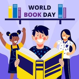 Organiczny płaski światowy dzień książki z ludźmi czytającymi