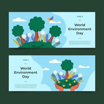 Organiczny płaski światowy szablon transparent dzień środowiska