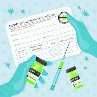 Organiczny płaski szablon karty szczepienia przeciwko koronawirusowi