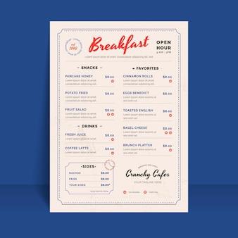 Organiczny płaski szablon menu restauracji rustykalnej