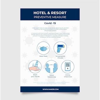 Organiczny płaski szablon plakatu zapobiegającego koronawirusowi dla hoteli
