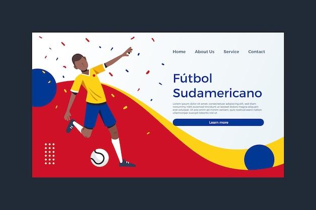 Organiczny płaski szablon strony docelowej futbolu południowoamerykańskiego