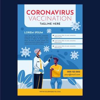 Organiczny płaski szablon ulotki szczepienia przeciwko koronawirusowi