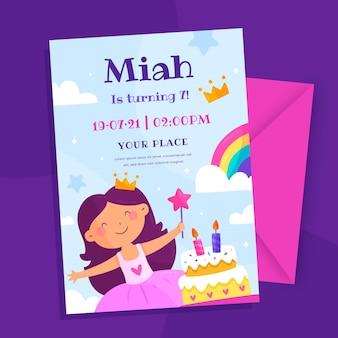 Organiczny płaski szablon zaproszenia urodzinowe księżniczki