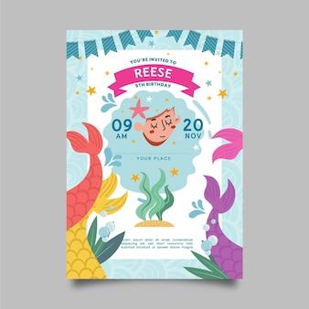 Organiczny płaski szablon zaproszenia urodzinowe syrenka