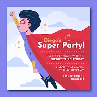 Organiczny płaski szablon zaproszenia urodzinowego superbohatera