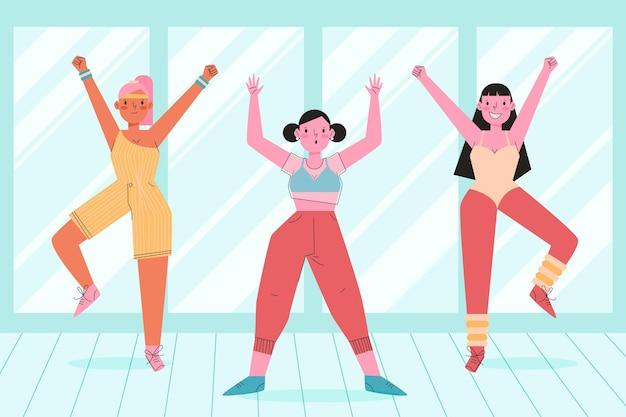 Organiczny płaski taniec fitness klasa ilustracja z ludźmi