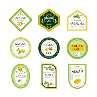 Organiczny płaski zestaw odznak olejku arganowego