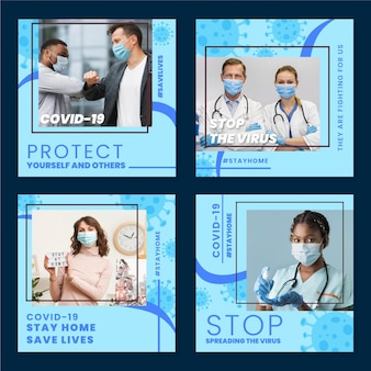 Organiczny płaski zestaw postów na instagramie koronawirusa