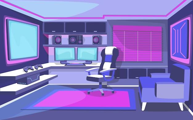 Organiczny pokój dla graczy o płaskiej konstrukcji