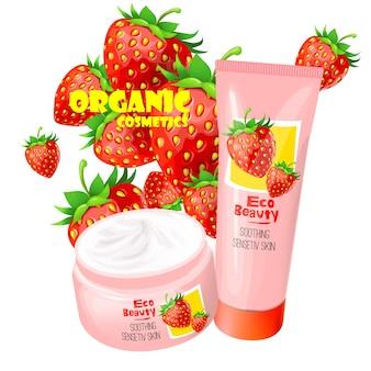 Organiczny produkt kosmetyczny z truskawek wektora