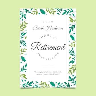Organiczny szablon karty z pozdrowieniami płaskiej emerytury