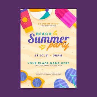 Organiczny szablon plakatu pionowego płaskiej letniej imprezy