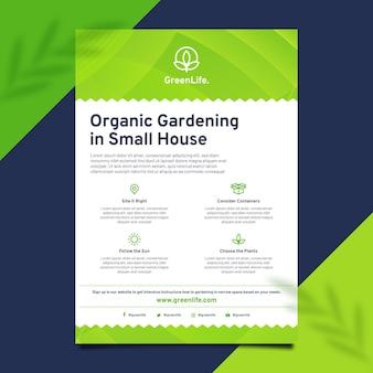 Organiczny szablon ulotki ogrodniczej