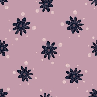 Organiczny wzór z granatowymi kwiatami doodle wydruku. liliowy tło. z kształtami bąbelków. płaski nadruk wektorowy na tekstylia, tkaniny, opakowania na prezenty, tapety. niekończąca się ilustracja.