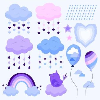 Organiczny zestaw elementów dekoracyjnych płaskich chuva de amor