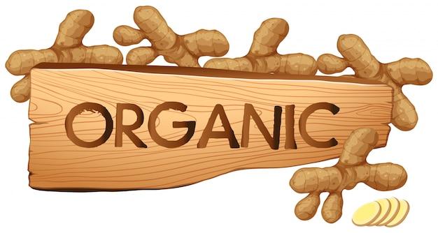 Organiczny znak ze świeżymi imbirami