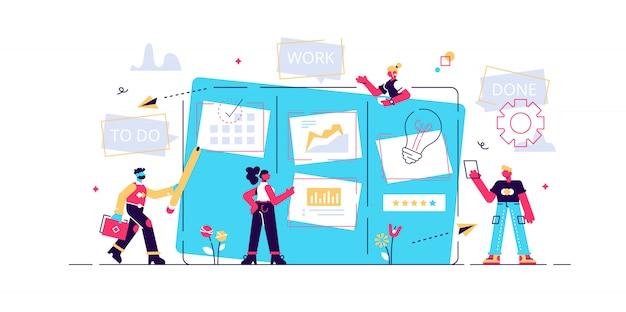 Organizacja przepływu pracy. praca biurowa i zarządzanie czasem. tablica kanban, proces komunikacji pracy zespołowej, koncepcja zwinnego zarządzania projektami. ilustracja koncepcja na białym tle