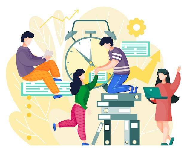 Organizacja zarządzania czasem, pracownicy biurowi pracujący nad wspólnym projektem, planowanie biznesplanu