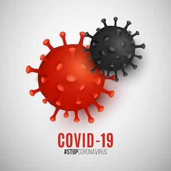 Organizm patogenu koronawirus. epidemia choroby zakaźnej covid-19. infekcja komórkowa. model wirusa 3d dla twojego projektu medycznego.