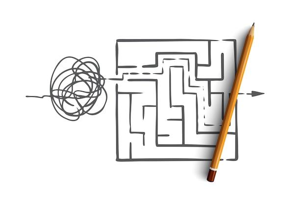 Organizuj, porządkuj, kontroluj, sortuj, koncepcja chaosu. ręcznie rysowane z chaosu, aby zamówić szkic koncepcyjny symbolu.