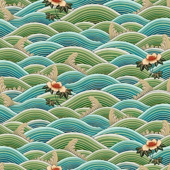 Orientalna chińska sztuka fala wzór bezszwowe tło